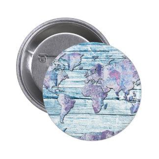 madera 14 del mapa del mundo chapa redonda de 5 cm