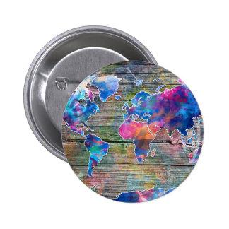 madera 1 del mapa del mundo chapa redonda de 5 cm