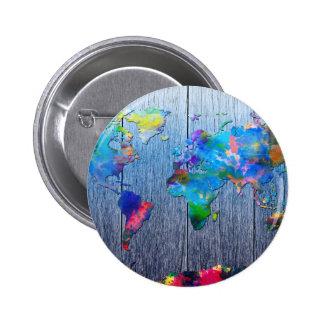 madera 2 del mapa del mundo chapa redonda de 5 cm