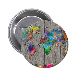 madera 3 del mapa del mundo chapa redonda de 5 cm