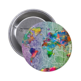 madera 4 del mapa del mundo chapa redonda de 5 cm