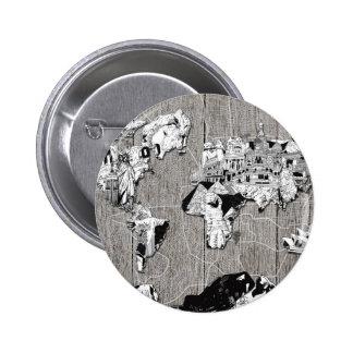 madera 5 del mapa del mundo chapa redonda de 5 cm