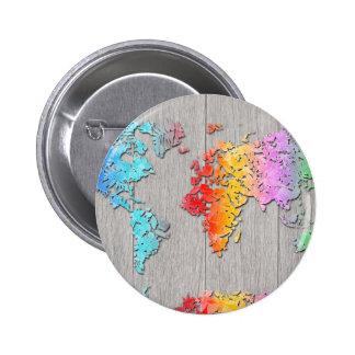 madera 7 del mapa del mundo chapa redonda de 5 cm