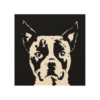 """Madera 8"""" de la plantilla de Boston Terrier"""" arte"""