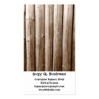 Madera apenada cabaña de madera rústica del tarjetas de visita