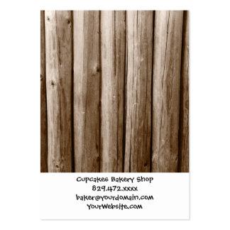 Madera apenada cabaña de madera rústica del tarjetas de visita grandes