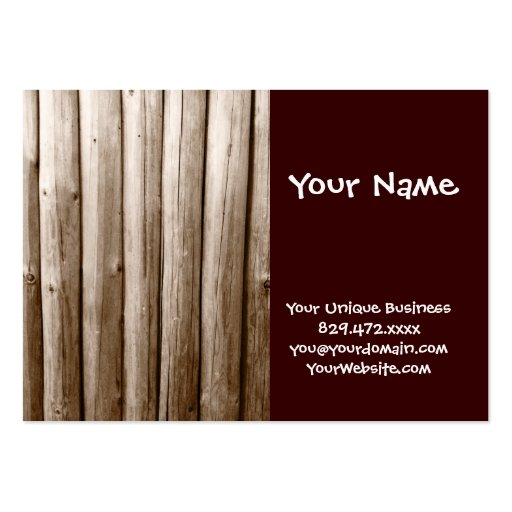 Madera apenada cabaña de madera rústica del tarjeta de visita