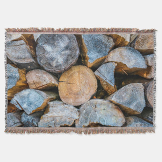 Madera - combustible caliente manta tejida