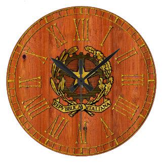 Madera de pino italiana de la república reloj redondo grande