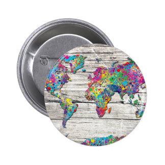 madera del mapa del mundo chapa redonda de 5 cm