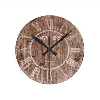 MADERA el | Londres 1809 del VINTAGE Reloj Redondo Mediano
