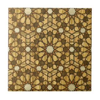 Madera geométrica del modelo 1 de la mezquita de Q Azulejo Cuadrado Pequeño