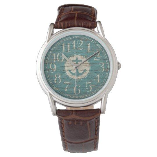 Madera náutica decorativa única del vintage del reloj