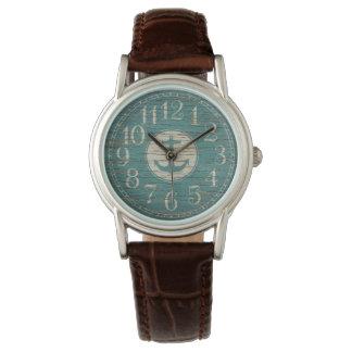 Madera náutica decorativa única del vintage del reloj de pulsera