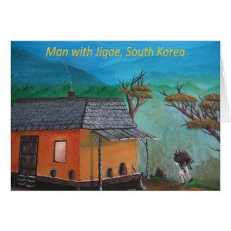 Madera que lleva del hombre coreano (Jigae) Tarjeta De Felicitación