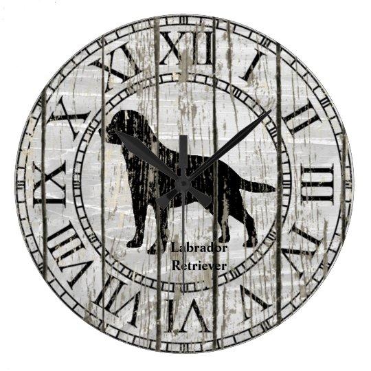 Madera resistida labrador retriever reloj redondo grande
