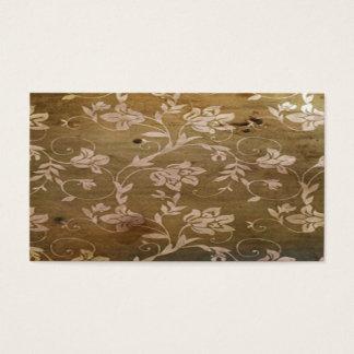 Madera retra del vintage con las flores elegantes tarjeta de visita