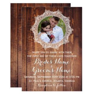 Madera rústica de la foto y boda del cordón invitación 12,7 x 17,8 cm