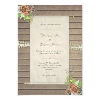 Madera rústica e invitación floral del boda