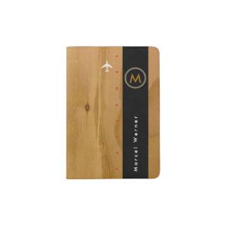 madera rústica elegante y elegante, masculina porta pasaportes