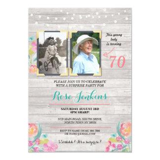 Madera rústica floral de la fiesta de cumpleaños invitación 12,7 x 17,8 cm