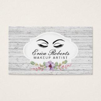 Madera rústica floral del vintage del artista de tarjeta de negocios