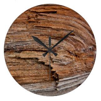 Madera rústica reloj redondo grande