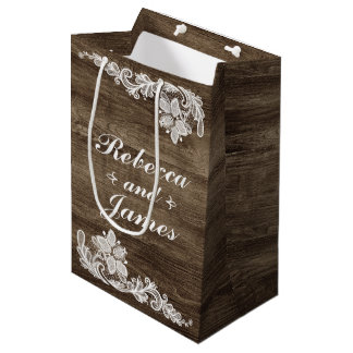 Madera rústica y boda del cordón del vintage bolsa de regalo mediana