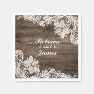 Madera rústica y boda del cordón del vintage servilleta desechable