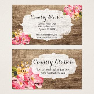 Madera rústica y país rosado pintado de la flor tarjeta de visita