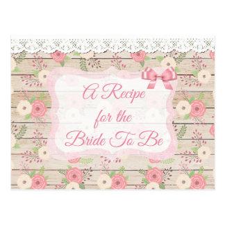Madera rústica y tarjeta de la receta del rosa y