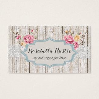 Madera y cordón elegantes lamentables - Rosabella Tarjeta De Negocios