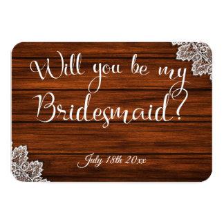 Madera y cordón usted será mi tarjeta de la dama