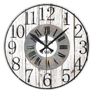 Madera y metal falsos reloj redondo grande