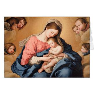 Madonna con el niño y ángeles tarjeta