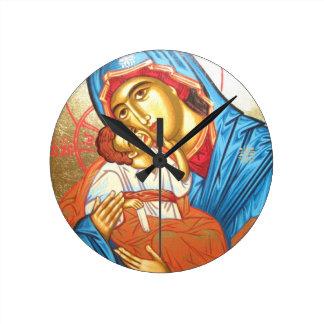 Madonna con oro religioso bizantino del icono de reloj redondo mediano