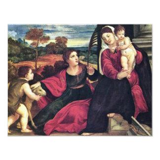 Madonna con St. Inés y St. John el Bautista Invitación 10,8 X 13,9 Cm