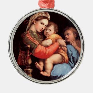 Madonna de la silla adornos de navidad