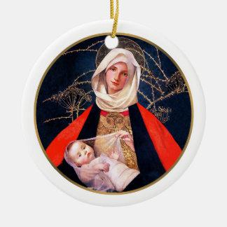 Madonna de Marianne alimenta. Ornamento del regalo Adorno Redondo De Cerámica
