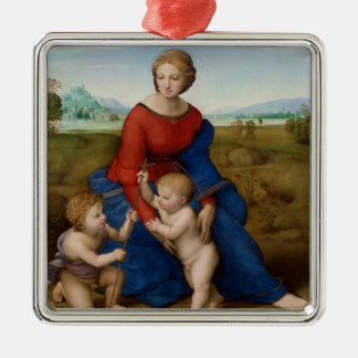 Madonna de Raphael del prado religioso Adorno Navideño Cuadrado De Metal