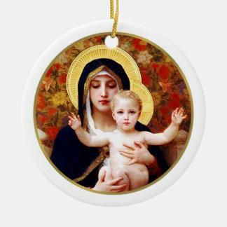 Madonna de W. Bouguereau. Ornamento del regalo del Adorno Navideño Redondo De Cerámica