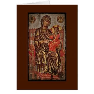 Madonna e icono del niño tarjeta de felicitación