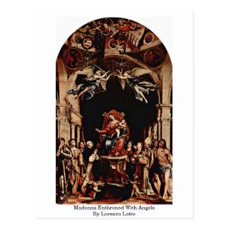 Madonna Enthroned con ángeles de Lorenzo Lotto Postal