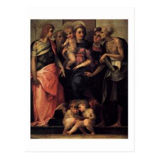 Madonna Enthroned con la postal de cuatro santos