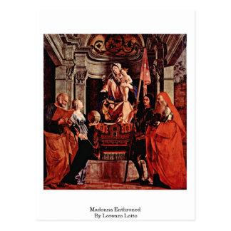 Madonna Enthroned por Lorenzo Lotto Postal