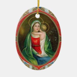 Madonna Maria y navidad religioso del vintage del Ornamento Para Arbol De Navidad