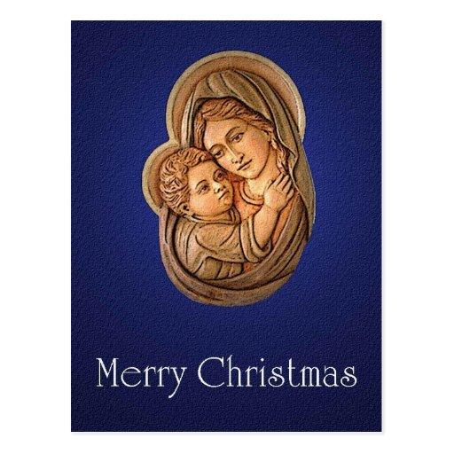 Madonna y la postal del navidad del niño de Cristo