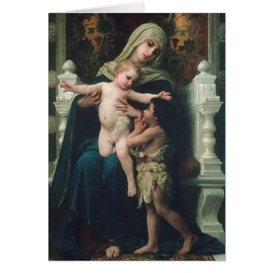 Madonna y niño con la tarjeta de San Juan Bautista