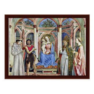 Madonna y niño con los santos postales