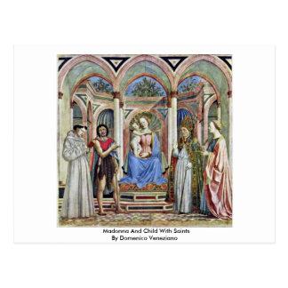 Madonna y niño con los santos tarjetas postales